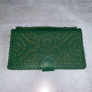 Cleobella green Mexicana clutch leather wallet